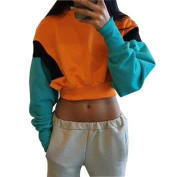 Color Blocks Sweatshirts Women Hoodie Crop Tops Solid Yellow Long Sleeve Cropped Sweatshirt Hooded Pullover Tolstovka