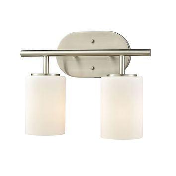 Pemlico 2-Light Vanity Lamp in Satin Nickel with White Glass