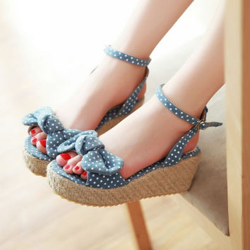 Sweet Rattan Wave Bowknot Wedge Sandals Shoes