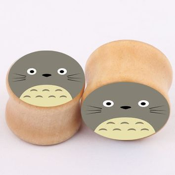 \Body Piercing Jewelry 1pair Cute cat Logo Wooden Flesh Tunnel Ear Plugs big gauge piercing ear expanders 6~16mm Size