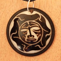 Mens Necklace - Warrior Mask in Tagua