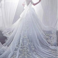 [269.99] Fantastic Lace V-Neck Neckline Ball Gown Wedding Dresses With Lace Appliques - dressilyme.com
