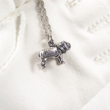 Marines Bulldog Charm Silver Tone Pendant Necklace Vintage Jewelry