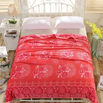 The Latest Fashion Hot And Elegant Red Flowers Printed Blanket Blanket Comfortable Bed / Sofa / Aircraft / Travel To Carry