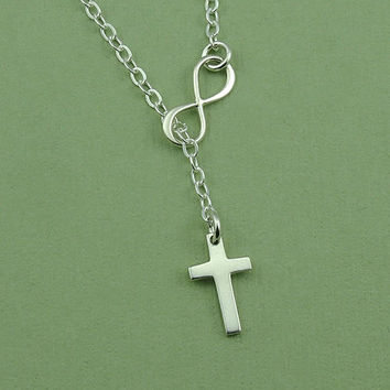 Tiny Cross Infinity Lariat Necklace - sterling silve lariat jewelry - charm necklace - christian jewelry