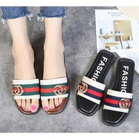 GUCCI metal Buckle Casual Fashion Women Sandal Slipper Shoes