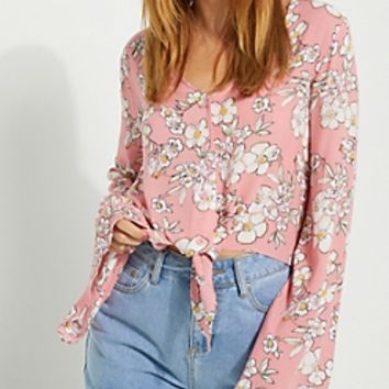 Teal Floral Bell Sleeve Crop Blouse
