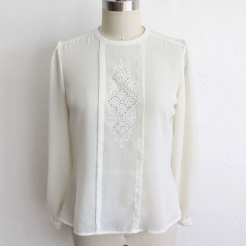 Vintage 80s Ivory White Silky Sheer Long Sleeve Blouse with Lace Pleat