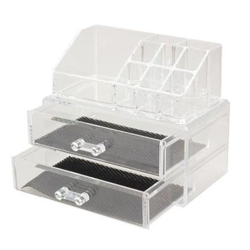 Excellent Cosmetic Organizer Two Layer Drawers Acrylic Desk Organizer Acrylic Makeup Organizer Storage Box Rangement Maquillage