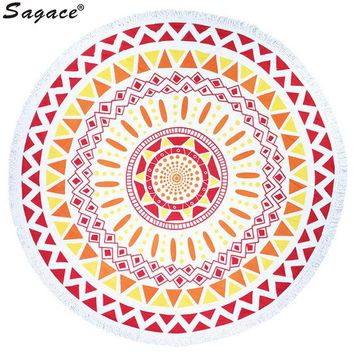 DCCKJG2 Trendy Boho Print Tassel Shawl Decor Art Round Hippie Tapestry Beach Throw Roundie Mandala Towel Yoga Mat Bohemian Wrap Aug22