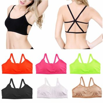 Womens Bralet Bustier Eyelash Vest Plain Strappy Crop Lace Top Bandeau Sport Bra