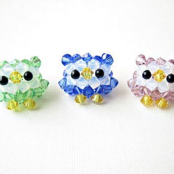 Owl Star Necklace - Swarovski Crystal Beaded Sterling Silver - available in 9 different colors