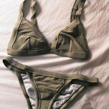 Army Green Bikini Set Swimwear Sexy Bathingsuit Top Swimsuit