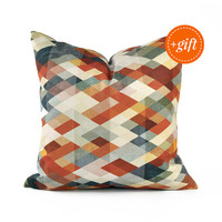 Burnt Orange Throw Pillow for Couch. Colorful Throw Pillow, 18x18 Pillow Cover with the Shades of Red, Grey and Orange