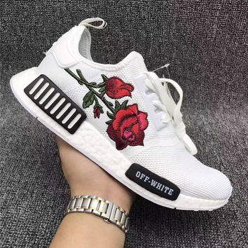 Adidas: OFF-WHITE Rose Embroidery sports shoes