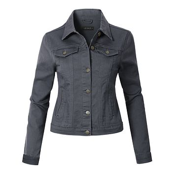 Casual Vintage Long Sleeve Button Down Denim Jean Jacket