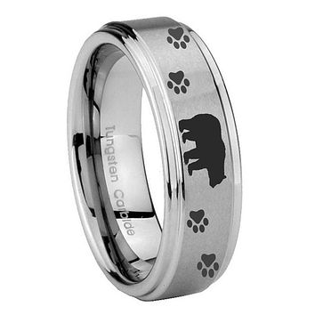 10MM Step Edges Bear and Paw Tungsten Carbide Silver Men's Ring