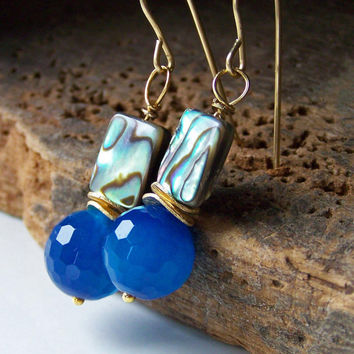 Etsy, Blue Beaded Earrings with Abalone Shell and Wavy Spacers on Brass Earwires, Beaded Earrings, Etsy Jewelry, Jewelry, Gift