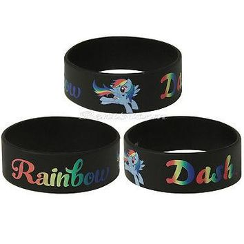 Licensed cool ONE My Little Pony RAINBOW DASH Black Rubber Bracelet Hasbro  SHIPPING NWT