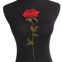 Rose Flower Patches Sew on Red Embroidered Patch Motif Applique Women DIY Stickers For Jacket Clothes Jeans