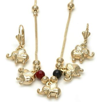 Gold Layered 10.32.0009.18 Earring and Pendant Adult Set, Elephant and Rat Tail Design, with Black Azavache and Garnet Opal, Polished Finish, Golden Tone