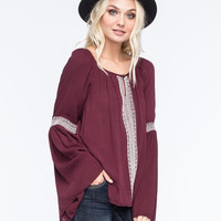 Patrons Of Peace Bell Sleeve Womens Top Burgundy  In Sizes