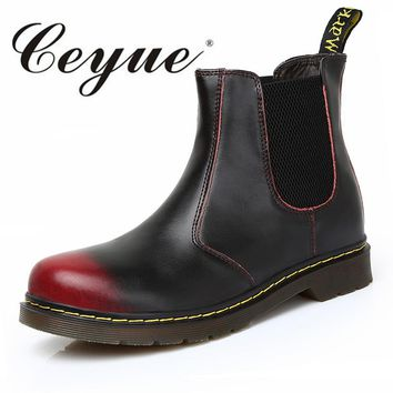 Ceyue Men Winter Boots Casual Man Shoes Genuine Leather Men Boots Chelsea Fashion Flat Heel Ankle Boots For Lover Big Size 35-45