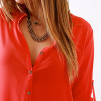 Zoa, Button-Up Shirt Blouse in Tomato