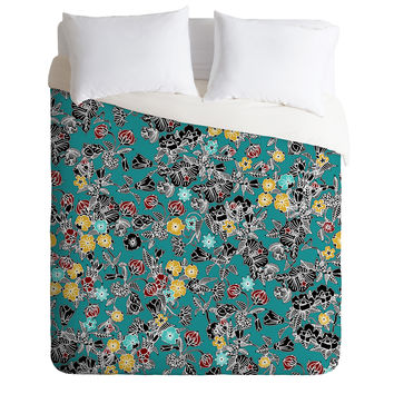 Sharon Turner Cloisonne Flowers Duvet Cover