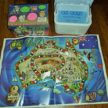 "Vintage 1984 ""OZ Quiz"" Board Game / Around Australia Quiz in an Eski Family Board Game / ""Up The Creek"""