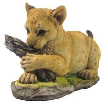 Tiger Cub Playing with Tree Trunk Statue