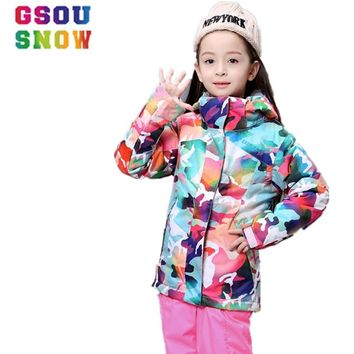 GSOU SNOW Ski Jacket Kids Winter Snowboard Jacket Hoodie Girls Super Warm Snow Camouflage Clothing Children -30 Degree Sports