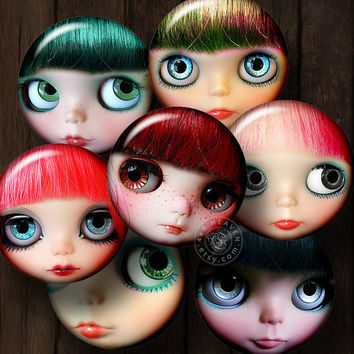 """Doll Faces - Ditigal Collage Sheets CB-090 - 1.5"""", 1"""" and 25mm circles - Printable Downloads for Jewelry, Bottle Caps, Crafts, Scrapbooking"""