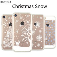 BROTOLA Happy New Year Christmas Gift Phone Case For iphone 6 Case Clear TPU Soft Back Cover For iphone X 5 5s se 6 6s 7 8 Plus