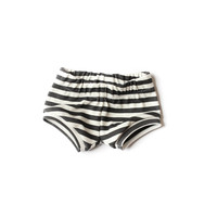Organic Baby Shorties Black Stripes