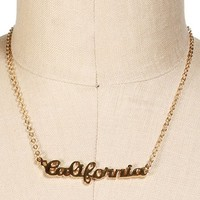 Gold California Script Necklace
