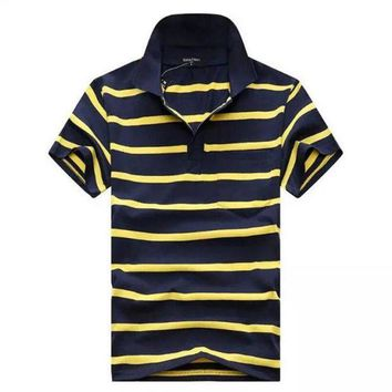 VONE05WA Men's cotton shirt Casual Stripes Polos summer top fashion brand polo shirt men jersey classic Camisa Polo Chemise Homme