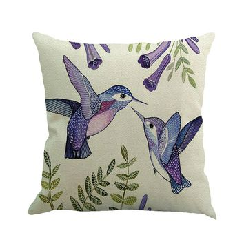 Branches Bird Linen Cushion Cover Throw Pillow Case Sofa Home Decor