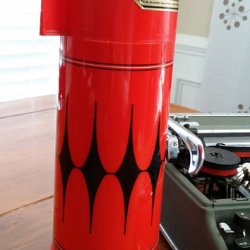 Vintage Red Black Diamond Aladdin Vanguard 32oz Hot Cold Thermos Great for Coffee at the Office A Picnic Decor Guy Gift