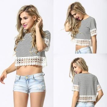 Women's Fashion Summer Lace Stripes Short Sleeve Tops [11055903751]