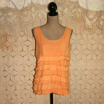 Apricot Ruffled Tank Top Sleeveless Top Summer Top Boho Top Hippie Top Casual Cotton Top Ann Taylor Size 16 XL 1X Plus Size Womens Clothing