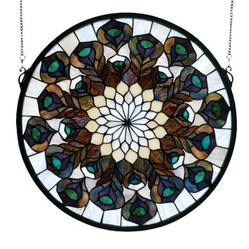 Hanging Stained Glass Window - Peacock Feather