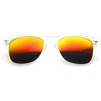 Frosted Frame Reflective Lens Horned Rim Sunglasses 8026