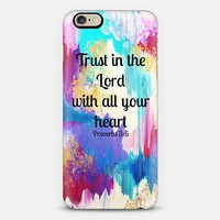 TRUST IN THE LORD WITH ALL YOUR HEART - Proverbs 3:5 Christian Fine Art Typography Bible Verse Scripture Colorful Chic Girly Pastel Pink Turquoise Aqua White Ikat Abstract Painting iPhone 6 case by Ebi Emporium | Casetify