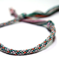 Kumihimo Bracelet Cotton Fibre Grey, Pink & Turquoise