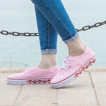 Design For Valentine's Day Vans AUTHENTIC Light Pink Sneaker Leisure Shoes