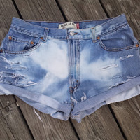PLUS SIZE High Waisted Denim Shorts - LEVI'S High Waist Jean Shorts - Size 36 or 14