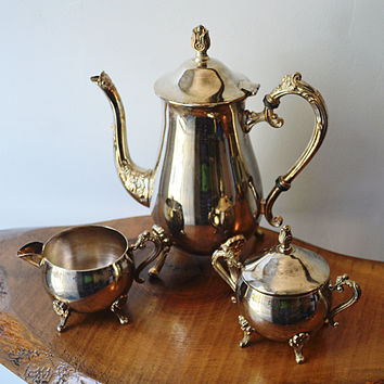 Silver Plated Coffee Service, Coffee Pot, Creamer, Sugar Dish,Vintage Silver Plate,Vintage Cream and Sugar,Silver plate