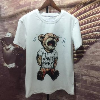 Moschino Cartoon cry The bear Short sleeve T-shirt blouse loose top H-spring-CLFSGCJDZ