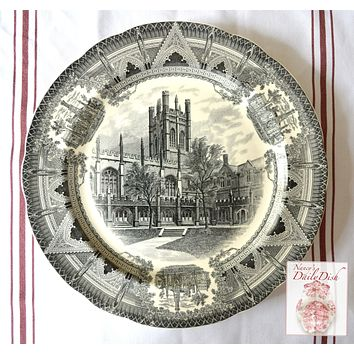 Copeland Spode Black Transferware Charger Plate Hutchinson Court & Mitchell Tower Chicago University Stunning Architectural Border